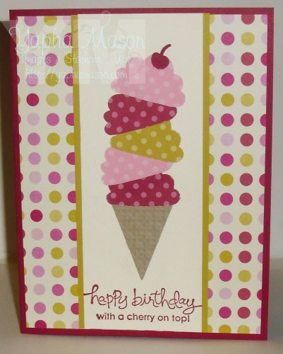 Ice Cream Cone Birthday Card by Yapha