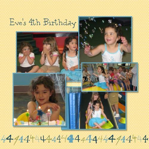 Eve's 4th Birthday Scrapbook Page by Yapha Mason