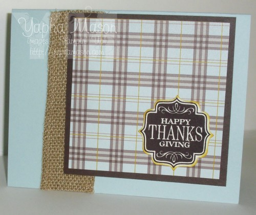 Thanksgiving Plaid in Soft Sky and Chocolate Chip by Yapha Mason