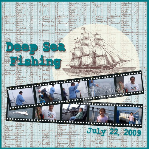 Deep Sea Fishing Scrapbook Page by Yapha Mason