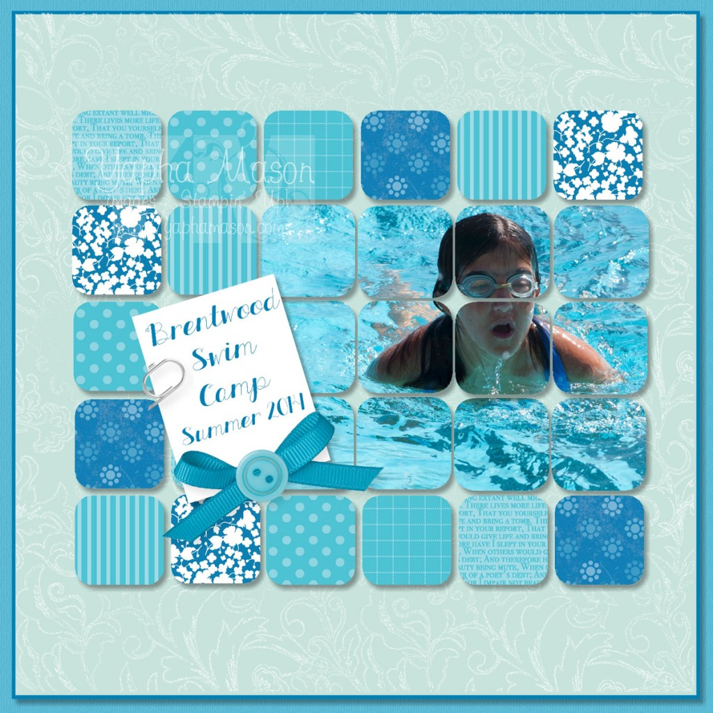 Swimming Scrapbook page for MDS Monday by Yapha