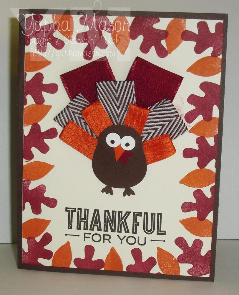 Ribbon Feather Turkey Card by Yapha
